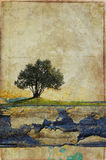 Schmutzpapierhintergrund mit Baum Lizenzfreies Stockbild
