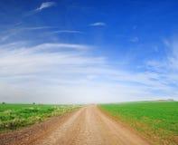 Schmutzpfad und grünes Feld Lizenzfreies Stockfoto