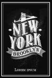 Schmutzplakat mit Namen von New York, Vektorillustration Stockbild
