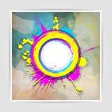 Schmutzrahmen auf dem abstrakten mehrfarbigen geometrischen Hintergrund w Stockbilder
