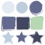 Schmutzrahmengrenzvektordesign stellte in blaue grüne Farbe ein Stockfoto