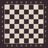 Schmutzschach Brett mit Buchstaben und Zahlen Vektorschach Brett für Schach und Kontrolleure stock abbildung