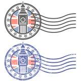 Schmutzstempel mit Big Ben und britischer Flagge Stockfotos