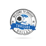 Schmutzstempel mit blauem Band und griechischer Insel Thassos IL Lizenzfreie Stockfotos