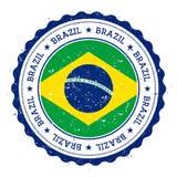 Schmutzstempel mit Brasilien-Flagge Stockfotografie