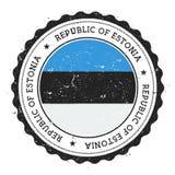 Schmutzstempel mit Estland-Flagge Stockfoto
