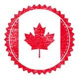 Schmutzstempel mit Kanada-Flagge Weinlesereisestempel Stockfotografie