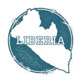 Schmutzstempel mit Namen und Karte von Liberia Lizenzfreie Stockfotografie