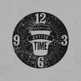 Schmutzweinlese-Artplakat der Kaffee-Zeit typografisches Retro- vektorabbildung Lizenzfreie Stockfotos