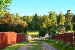 Schmutzweise in der schwedischen Landschaft Stockfoto