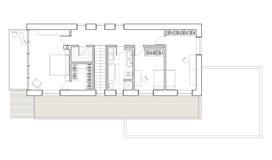 Schnürbodenplan des Einfamilien- Hauses mit Garage Stockfotos