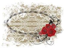 Schnüren Sie sich rote Rosen und Strudel des ovalen Feld-Valentinsgrußes Stockfoto