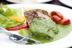 Schnapper mit grüner Soße Stockbilder