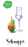 Schnapps glass filled with clear liquid and pear Royalty Free Stock Images
