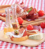 Schnapps prosciutto and cheese Stock Image