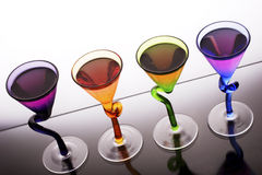Schnapps shots. Pink coloured schnapps shots in trendy glasses, ready to party stock photo