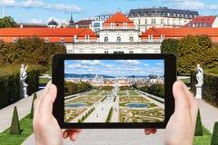 Schnappschuß des Gartens und des unteren Belvedere-Palastes Stockfoto