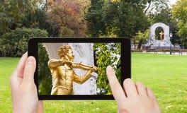 Schnappschuß von Johann Strauss-Monument in Wien Lizenzfreie Stockfotos
