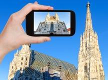 Schnappschuß von Stephansdom-Kathedrale in Wien Stockbild