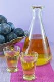 Schnaps de prune et prunes fraîches Images stock