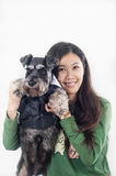 Schnauzer and its owner Royalty Free Stock Image