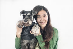 Schnauzer and its owner Royalty Free Stock Photography