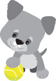 Schnauzer Puppy and Ball royalty free illustration