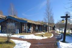 Schöne alte schwedische Häuser Stockfotografie