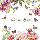 Schöne Aquarellkarte mit Pfingstrosenblumen und Orchidee blühen Schmetterlinge und Anlagen Lizenzfreie Stockbilder