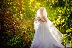 Schöne blonde Braut im weißen Kleid Stockfoto