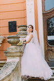 Schöne Braut im eleganten weißen Kleid mit dem langen Schwanz, der die romantische Weinlese der Treppe errichtet nahe Baluster au Stockfotos