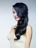 Schöne Dame mit dem ausgezeichneten Haar Stockfotografie