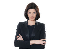 Schöne ernste kaukasische Geschäftsfrau-Porträtarme gekreuzt Stockfotos