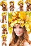 Schöne Fallfrau. Collage des Porträts des Mädchens mit Herbstkranz von Ahornblättern auf dem Kopf Stockbild