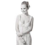 Schöne Frau auf Weiß Stockbilder