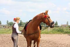 Schöne Frau, die Pferd betriebsbereit zum Reiten erhält Stockbild