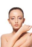 Schöne Frau getrennt auf Weiß Stockfotos