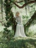 Schöne Frau im Weinlesekleid Stockbilder