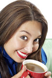Schöne Frauen mit Kaffee Stockbilder