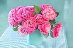 Schöne frische rosa Rosen Stockbild