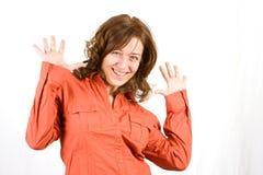 Schöne glückliche junge Frau Stockfoto