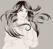 Schöne Hand gezeichnete Frauenart und weiseabbildung Stockfotos