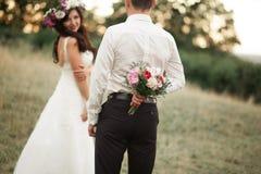Schöne Hochzeitspaare im Park Küssen Sie und umarmen Sie sich Stockbilder