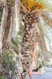 Schöne junge Frau auf einem tropischen Strand nahe Palmen Lizenzfreie Stockfotografie