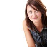 Schöne junge Frau, die blauen Sprunganzug trägt Lizenzfreies Stockbild