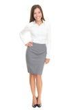 Schöne junge volle Karosserie der Geschäftsfrau auf Weiß Stockbild