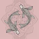 Schöne Karpfenfischillustration im Monochrom Symbol der Liebe, der Freundschaft und des Wohlstandes Stockbild