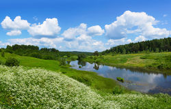 Schöne Natur, Panoramablick Fluss Poksha Stockfotos
