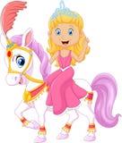 Schöne Prinzessin mit dem Zirkuspferd lokalisiert auf weißem Hintergrund Stockfotografie