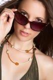 Schöne Sonnenbrille-Frau Stockbilder